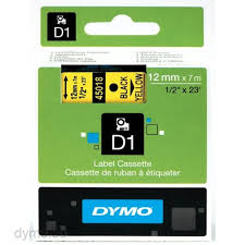 DYMO 45018 D1 Tape 12mm x 7m sort på gul, S0720580