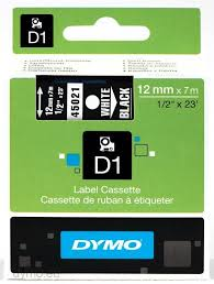 DYMO 45021 D1 Tape 12mm x 7m hvid på sort, S0720610