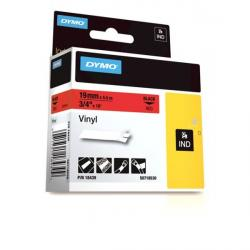 DYMO Rhino 18439 Vinyl tape 19mm x 5,5m sort på rød, S0718530