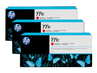 Blækpatroner HP 771C  Chromatic rød 3pack 775-ml D, B6Y32A